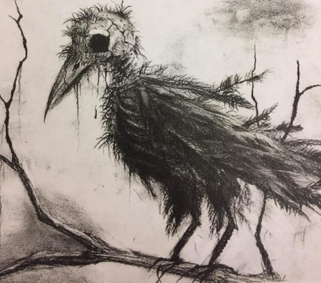 Creepy bird. Zombie bird, maybe?